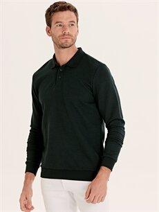 %47 Pamuk %53 Polyester Düz Bol Uzun Kol Tişört Polo Polo Yaka Uzun Kollu Tişört