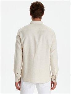Erkek Slim Fit Armürlü Uzun Kollu Gömlek