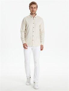 %66 Pamuk %34 Poliester Slim Fit Armürlü Uzun Kollu Gömlek