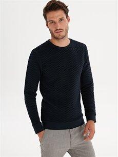 Lacivert Slim Fit Desenli Sweatshirt 9W7848Z8 LC Waikiki