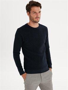 %100 Pamuk  Slim Fit Desenli Sweatshirt