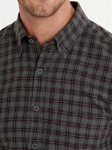 LC Waikiki Bordo Slim Fit Ekose Uzun Kollu Poplin Gömlek