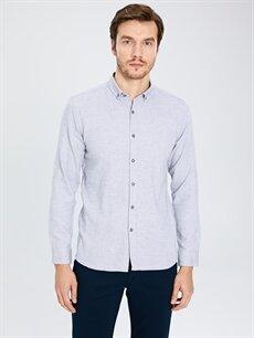 %100 Pamuk Dar Desenli Uzun Kol Gömlek Düğmeli Slim Fit Uzun Kollu Armürlü Gömlek