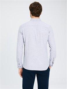 %100 Pamuk Slim Fit Uzun Kollu Armürlü Gömlek