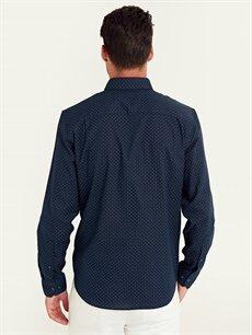 Erkek Regular Fit Desenli Uzun Kollu Poplin Gömlek