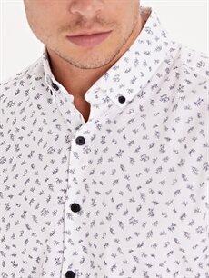 %100 Pamuk Slim Fit Desenli Uzun Kollu Gömlek