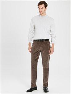 %98 Pamuk %2 Elastan Normal Pilesiz Pantolon Normal Bel Standart Kalıp Kadife Pantolon