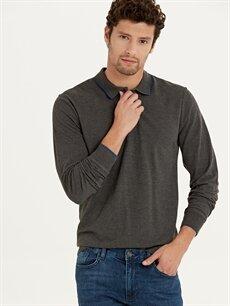 %49 Pamuk %51 Polyester Düz Standart Uzun Kol Tişört Polo Polo Yaka Uzun Kollu Pamuklu Tişört