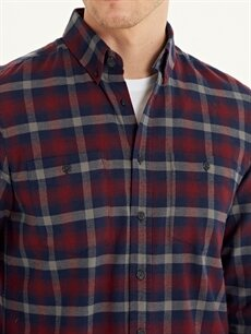 %100 Pamuk Regular Fit Ekose Gabardin Uzun Kollu Gömlek