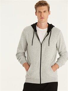 Gri Regular Fit Kapüşonlu Sweatshirt 9W9508Z8 LC Waikiki