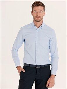 %60 Pamuk %40 Polyester Çizgili Kısa Kol Gömlek Düğmesiz Normal Regular Fit Uzun Kollu Gömlek