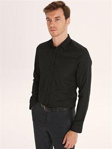 Siyah Slim Fit Desenli Uzun Kollu Gabardin Gömlek 9W9698Z8 LC Waikiki