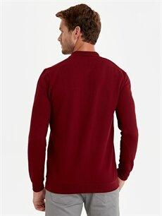 Erkek Polo Yaka Jakarlı Uzun Kollu Tişört