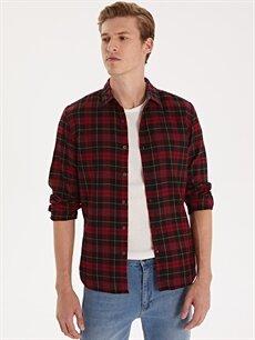 Kırmızı Ekstra Slim Fit Ekose Uzun Kollu Flanel Gömlek 9WG457Z8 LC Waikiki