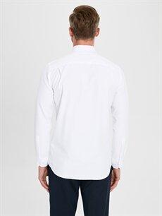 Beyaz Regular Fit Armürlü Uzun Kollu Gömlek
