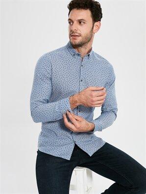 Slim Fit Uzun Kollu Armürlü Gömlek - LC WAIKIKI