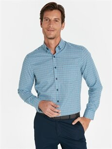 %51 Pamuk %49 Polyester Normal Uzun Kol Ekoseli Gömlek Düğmeli Regular Fit Ekose Uzun Kollu Gömlek