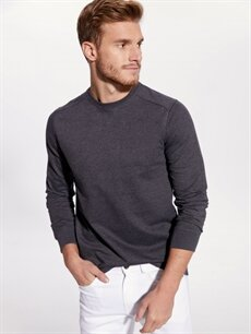 %46 Pamuk %54 Polyester  Rahat Kalıp Bisiklet Yaka Basic Sweatshirt