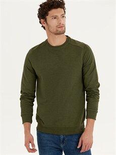 %50 Pamuk %50 Polyester  Rahat Kalıp Bisiklet Yaka Basic Sweatshirt