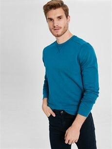 Erkek Rahat Kalıp Bisiklet Yaka Basic Sweatshirt