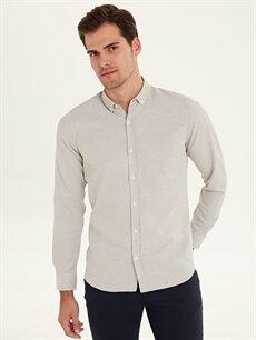 %64 Pamuk %36 Polyester Desenli Uzun Kol Gömlek Düğmeli Dar Slim Fit Armürlü Uzun Kollu Gömlek