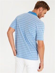%100 Pamuk Çizgili Bol Kısa Kol Tişört Polo Polo Yaka Çizgili Kısa Kollu Pike Tişört