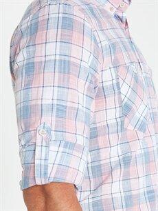 %100 Pamuk Regular Fit Ekose Uzun Kollu Poplin Gömlek