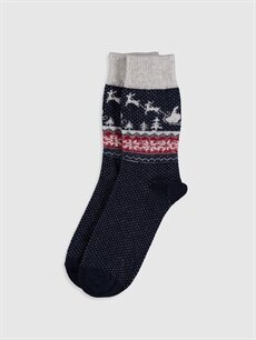 Gri Yılbaşı Temalı Soket Çorap 9WK959Z8 LC Waikiki