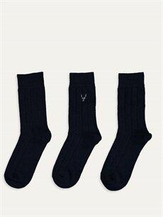 %21 Pamuk %40 Poliester %8 Poliamid %27 Yün %3 Akrilik %1 Elastan  Soket Çorap 3'lü
