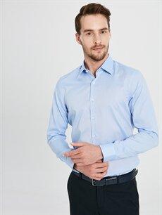 Mavi Slim Fit Akıllı Kumaş Uzun Kollu Gömlek 9WL544Z8 LC Waikiki