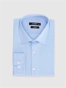 %100 Pamuk Dar Desenli Uzun Kol Gömlek Düğmesiz Slim Fit Akıllı Kumaş Uzun Kollu Gömlek