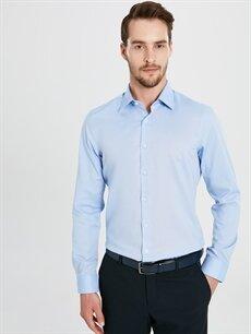 Erkek Slim Fit Akıllı Kumaş Uzun Kollu Gömlek