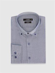 %100 Pamuk Dar Desenli Uzun Kol Gömlek Düğmeli Slim Fit Akıllı Kumaş Uzun Kollu Gömlek