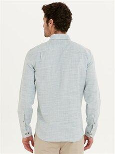Erkek Regular Fit Armürlü Uzun Kollu Poplin Gömlek