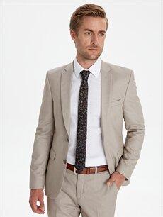 Bej Ekstra Dar Kalıp Desenli Takım Elbise Ceketi 9WL702Z8 LC Waikiki