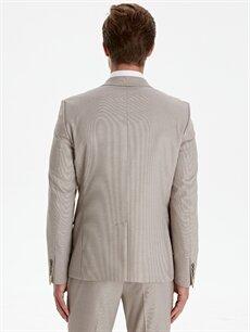 Erkek Ekstra Dar Kalıp Desenli Takım Elbise Ceketi
