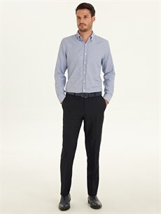 Lacivert Slim Fit Armürlü Takım Elbise Pantolonu 9WL738Z8 LC Waikiki