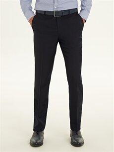 %100 Polyester Düşük Bel Dar Pileli Pantolon Slim Fit Armürlü Takım Elbise Pantolonu
