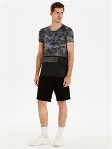 Erkek Bisiklet Yaka Baskılı Aktif Spor Tişört