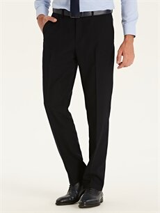 %100 Polyester Normal Pileli Pantolon Normal Bel Regular Fit Takım Elbise Pantolonu