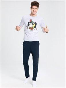 %49 Pamuk %51 Polyester Standart Pijamalar Nostaljik Maymun Baskılı Pijama Takım