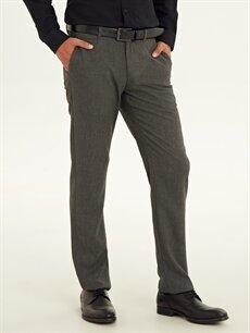 %68 Poliester %29 Vıscose %3 Elastane Normal Bel Normal Pilesiz Pantolon Regular Fit Armürlü Pantolon