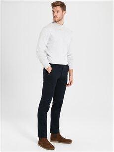 %45 Pamuk %34 Poliester %18 Viskoz %3 Elastan Normal Bel Normal Pilesiz Pantolon Standart Kalıp Desenli Pantolon
