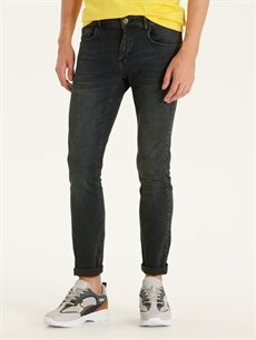%99 Pamuk %1 Elastan Dar Normal Bel Jean 750 Slim Fit Jean Pantolon