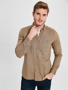 %100 Pamuk Düz Dar Uzun Kol Gömlek Düğmeli Slim Fit Uzun Kollu Gabardin Gömlek
