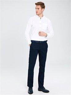 %97 Pamuk %3 Elastan Normal Pilesiz Pantolon Normal Bel Standart Kalıp Armürlü Pantolon