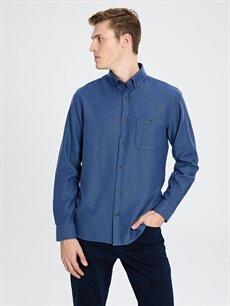 %100 Pamuk Normal Düz Uzun Kol Gömlek Düğmeli Regular Fit Gabardin Pamuklu Gömlek