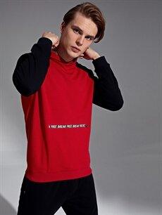 Kırmızı Kapüşonlu Baskılı Sweatshirt 9WO094Z8 LC Waikiki