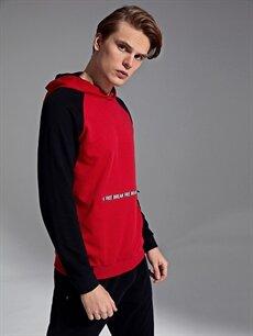 %44 Pamuk %56 Polyester  Kapüşonlu Baskılı Sweatshirt