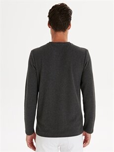 Erkek Slim Fit Çizgili Uzun Kollu Tişört